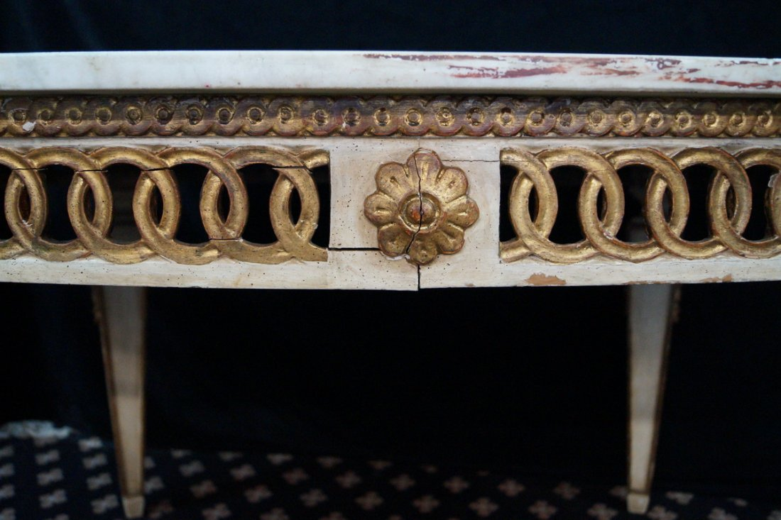 GILT & PAINT DECORATED MARBLE TOP OVAL TABLE - 3