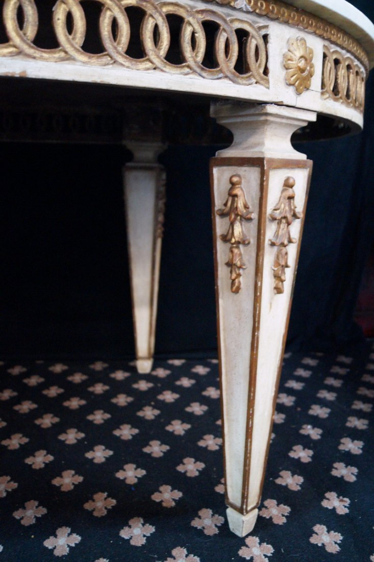 GILT & PAINT DECORATED MARBLE TOP OVAL TABLE - 4