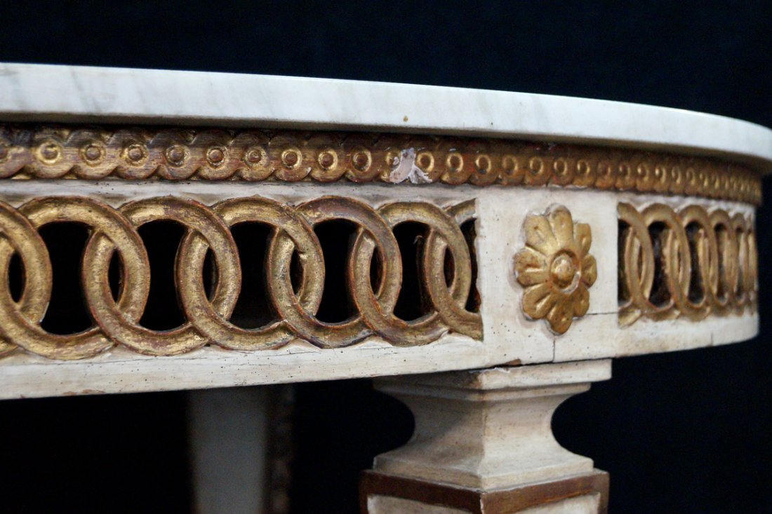 GILT & PAINT DECORATED MARBLE TOP OVAL TABLE - 5