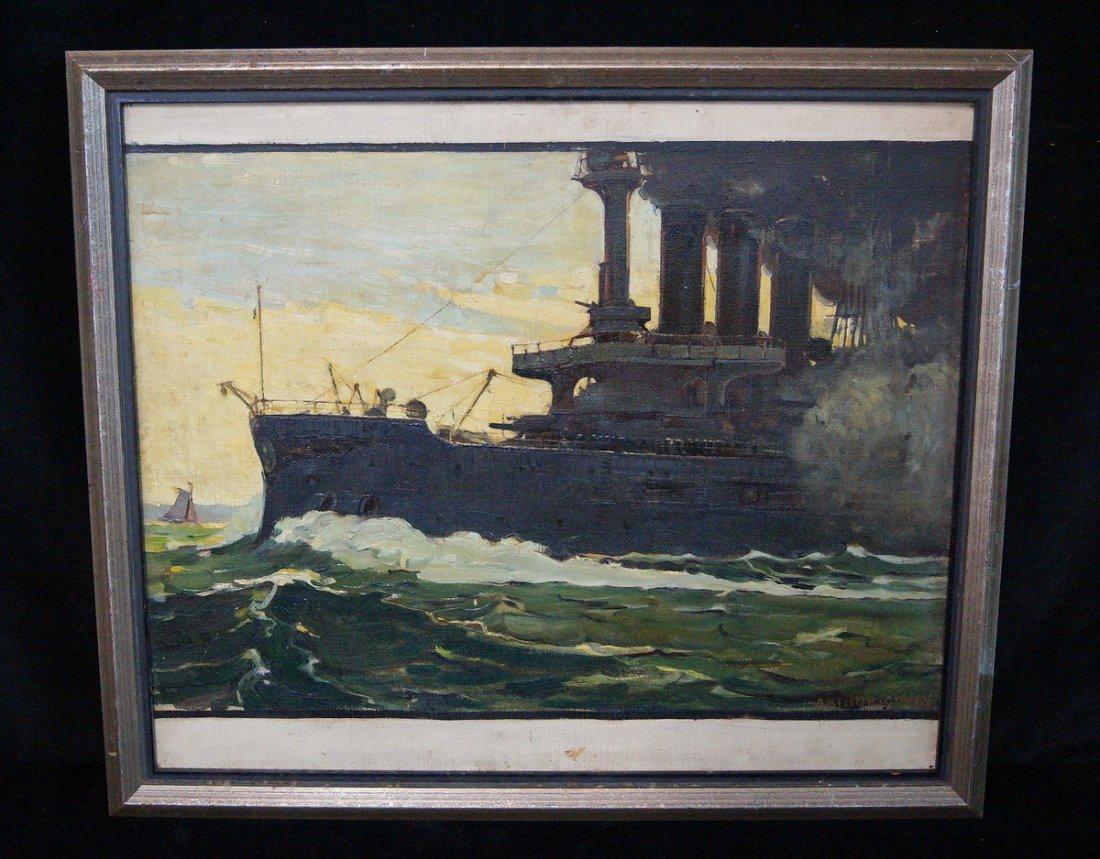 OIL ON CANVAS BATTLESHIP SGN. ARTHUR COVEY