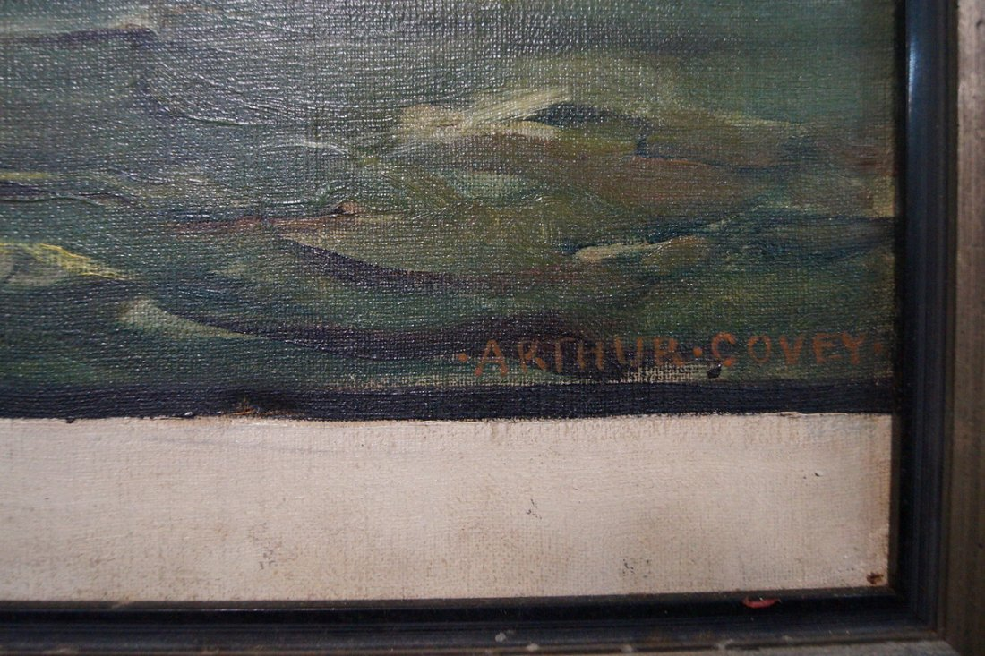 OIL ON CANVAS BATTLESHIP SGN. ARTHUR COVEY - 2