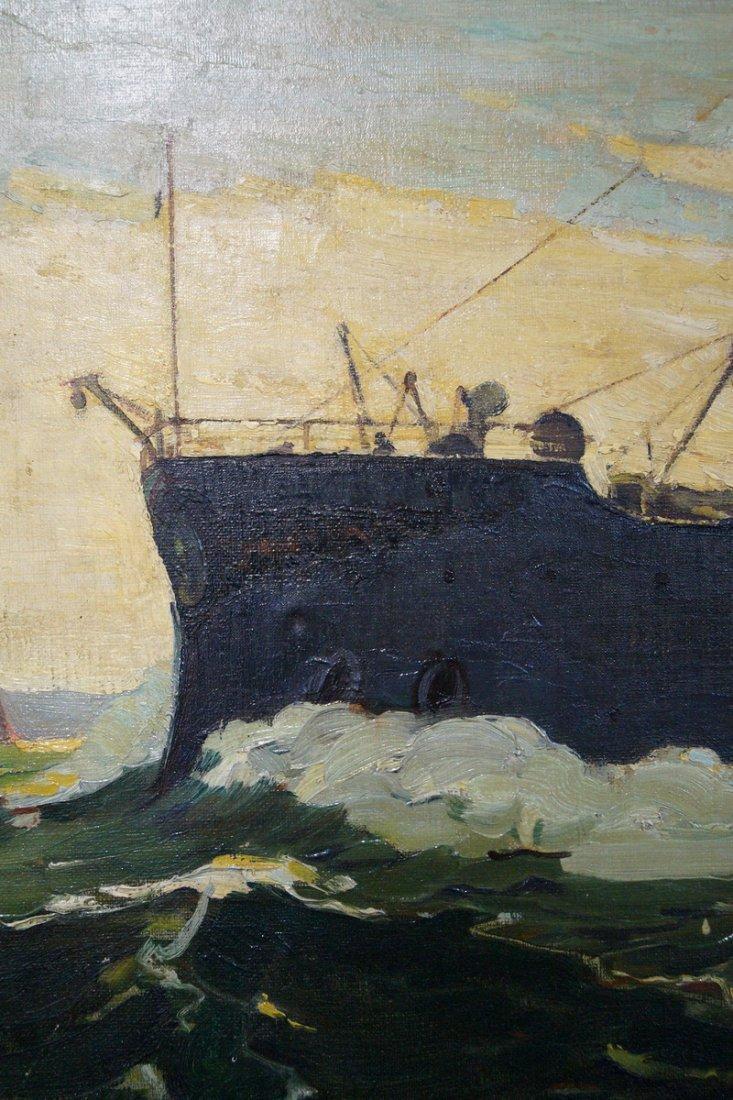 OIL ON CANVAS BATTLESHIP SGN. ARTHUR COVEY - 3