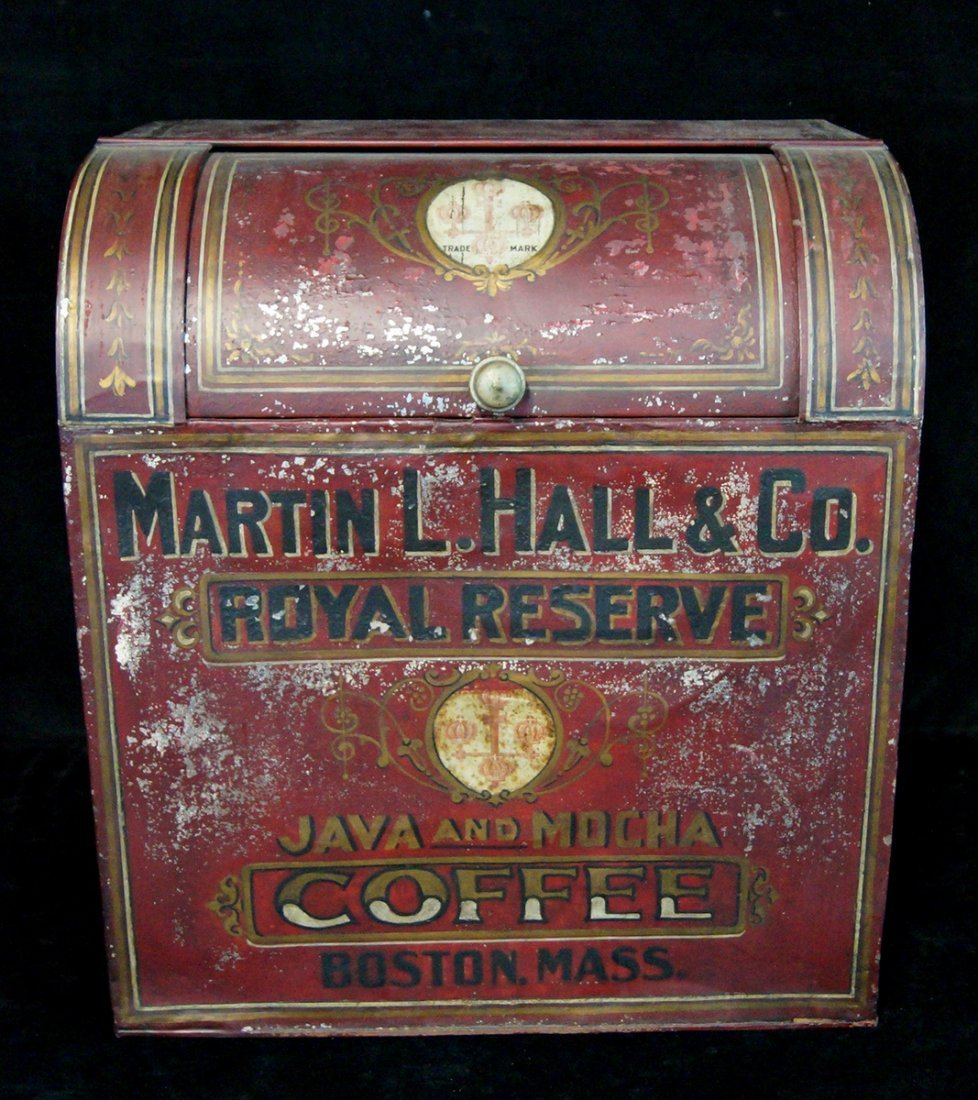 "PAINTED TOLE ""ROYAL RESERVE COFFEE"" CADDY"