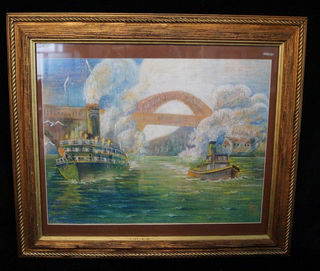 "GILT FRAME PASTEL ""FERRY & TUG BOAT"" SGN. KHS 1928"