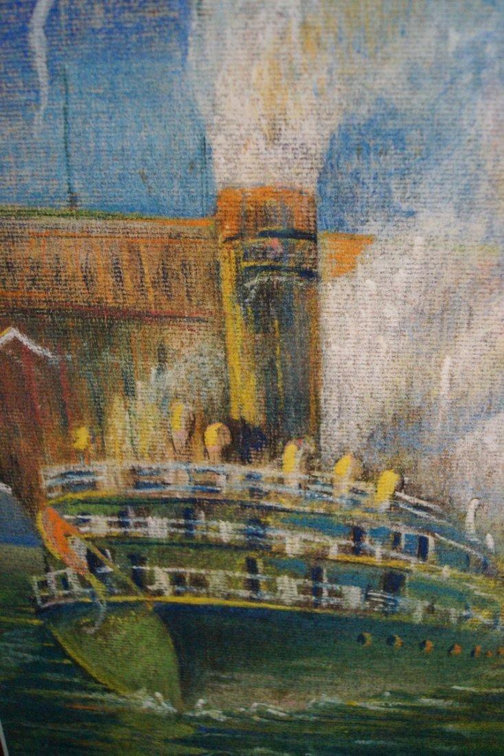 "GILT FRAME PASTEL ""FERRY & TUG BOAT"" SGN. KHS 1928 - 2"