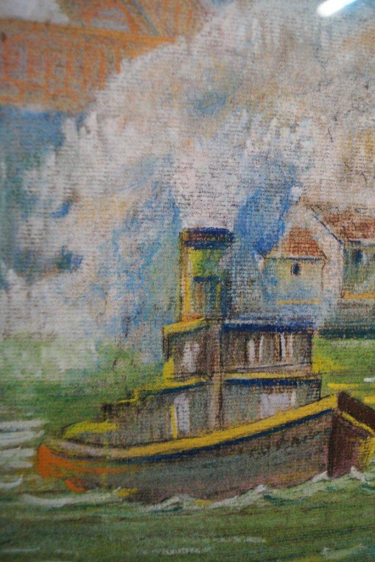 "GILT FRAME PASTEL ""FERRY & TUG BOAT"" SGN. KHS 1928 - 3"
