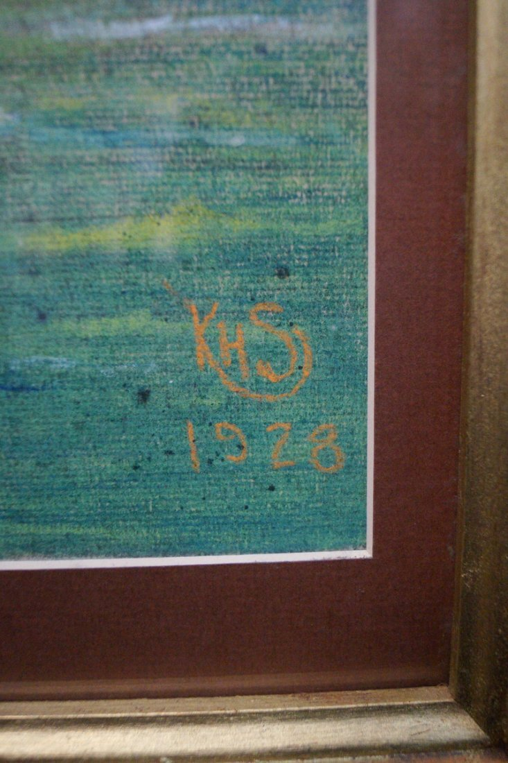 "GILT FRAME PASTEL ""FERRY & TUG BOAT"" SGN. KHS 1928 - 4"