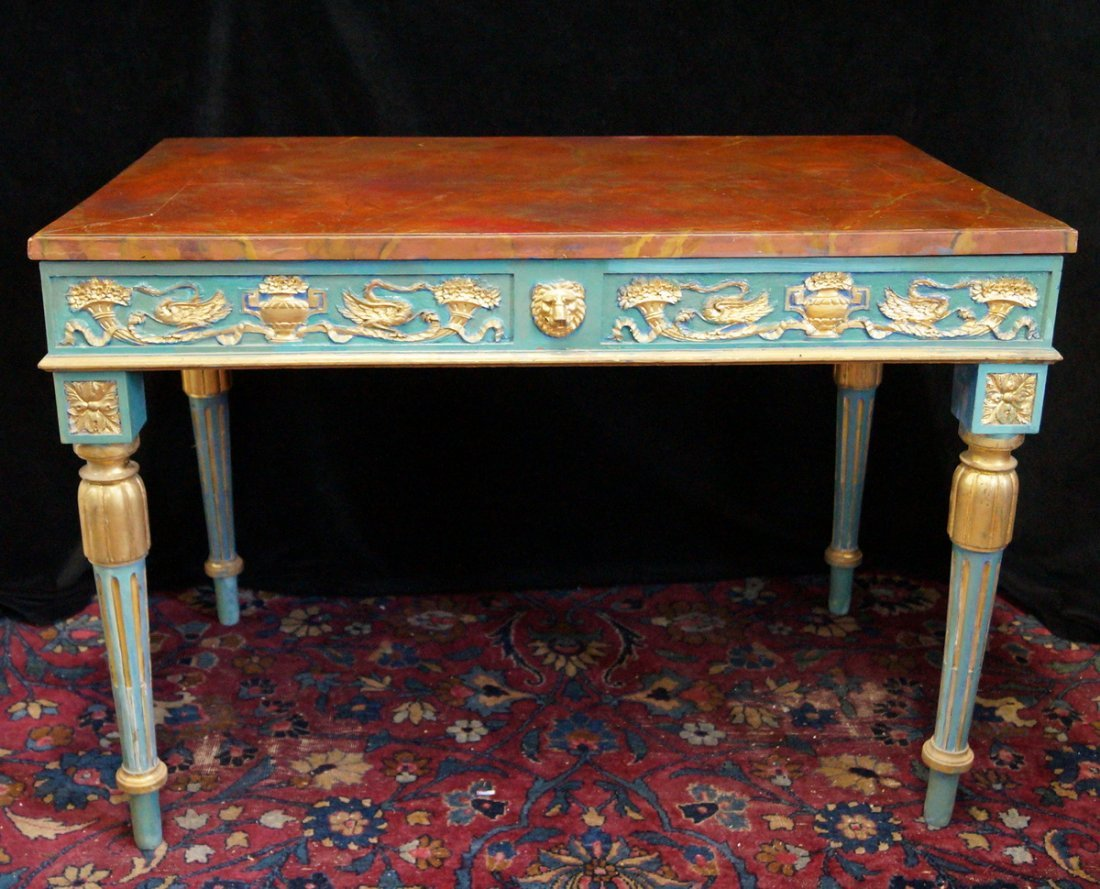 LOUIS XVI STYLE PAINT DECORATED BUREAU PLAT