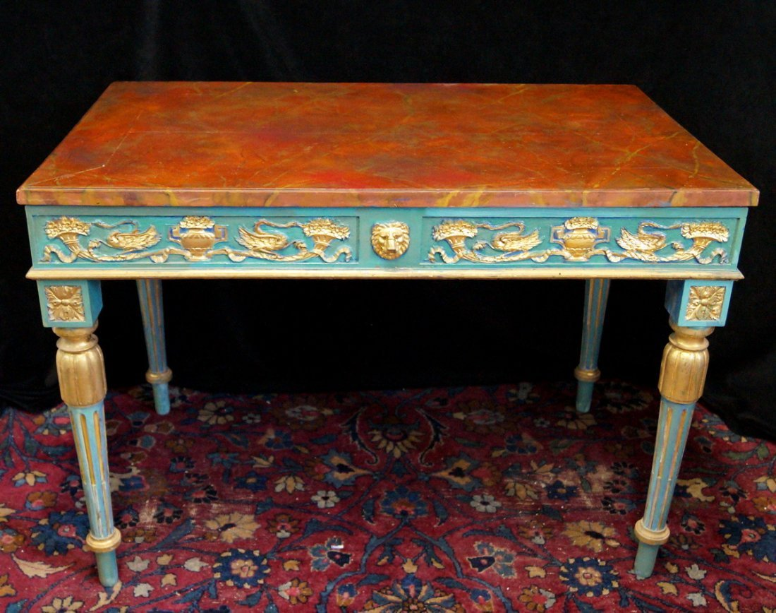 LOUIS XVI STYLE PAINT DECORATED BUREAU PLAT - 2