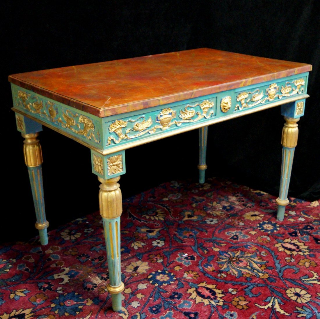 LOUIS XVI STYLE PAINT DECORATED BUREAU PLAT - 3