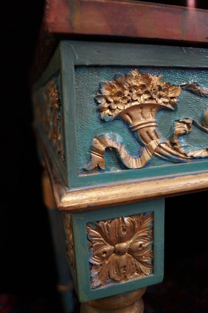 LOUIS XVI STYLE PAINT DECORATED BUREAU PLAT - 4