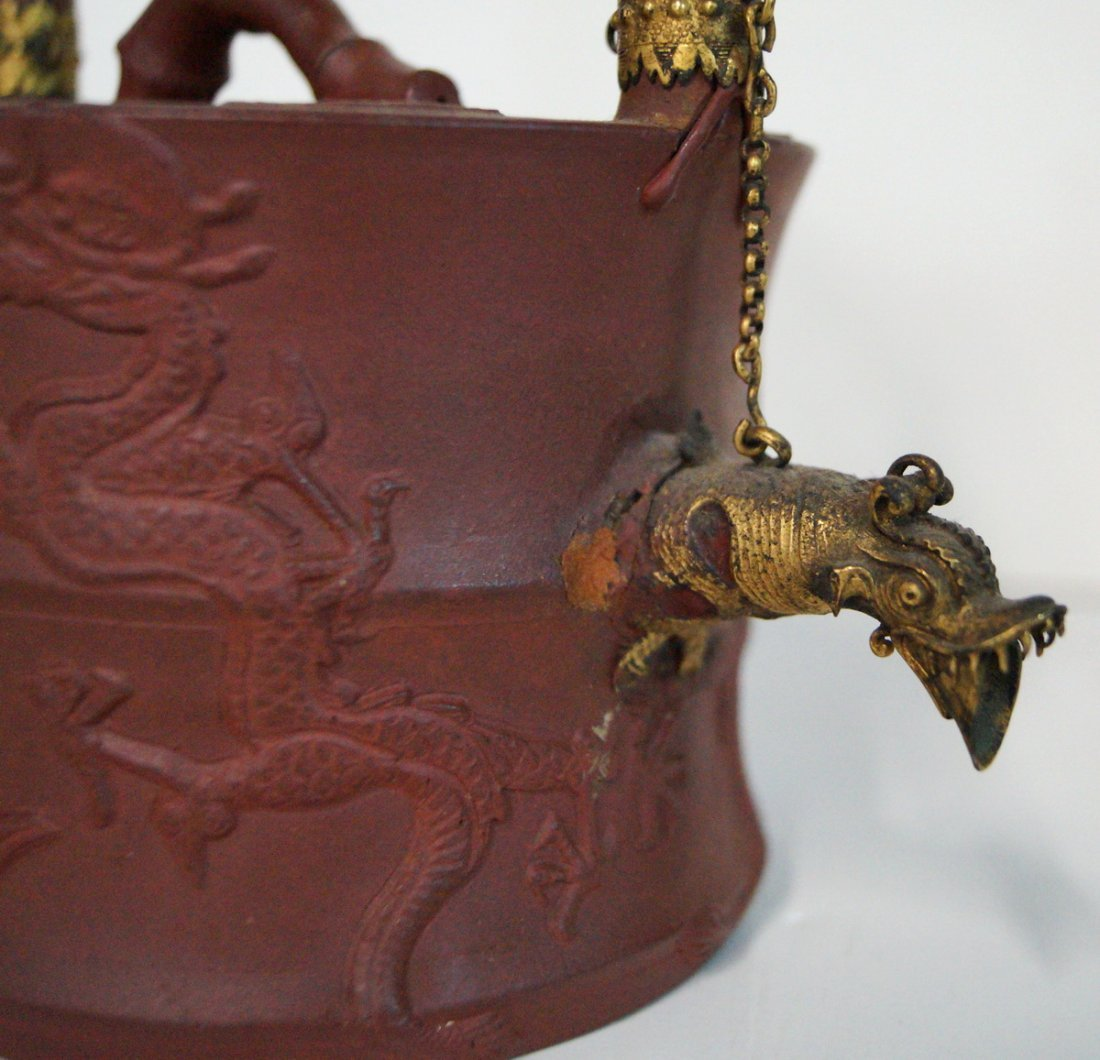 2 ASIAN POTTERY VASES & TEAPOT - 3