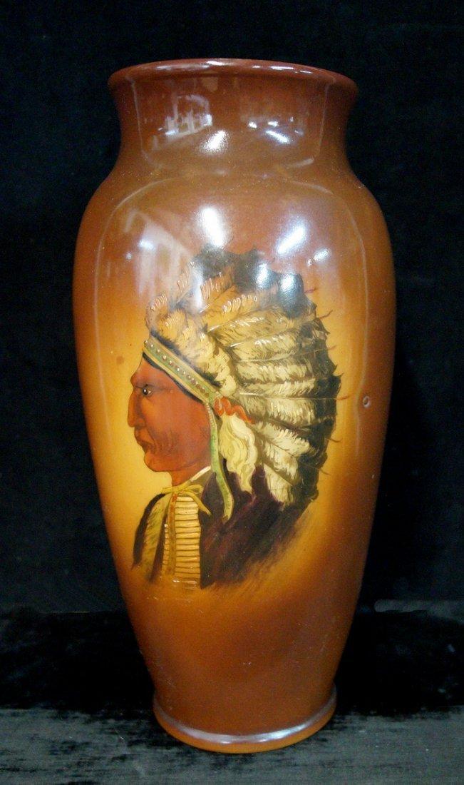 AMERICAN INDIAN MOTIF MILK GLASS VASE
