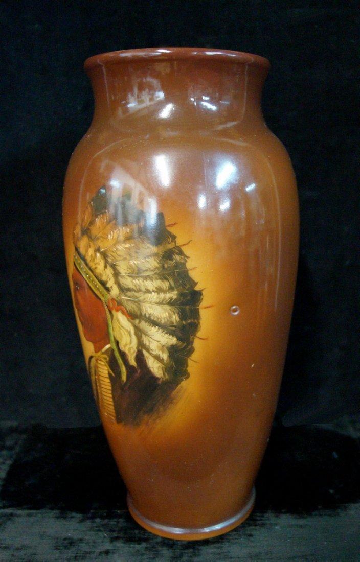 AMERICAN INDIAN MOTIF MILK GLASS VASE - 2