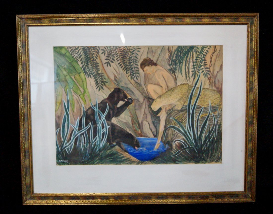 """FRAMED WATERCOLOR """"FEMALE FIGURE WITH JUNGLE CATS"""" SGN."""