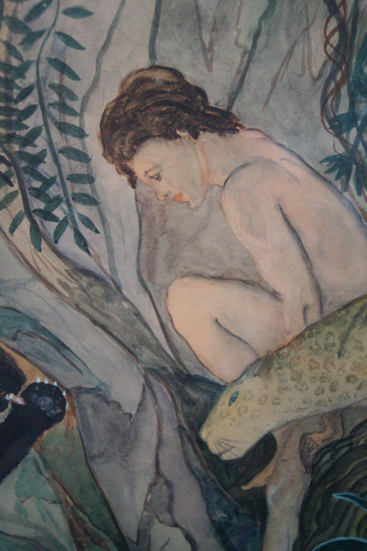 """FRAMED WATERCOLOR """"FEMALE FIGURE WITH JUNGLE CATS"""" SGN. - 3"""