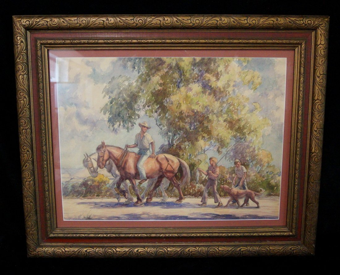GF W/C SCENE W/ HORSES, MEN, BOYS & DOG SGN A PALUMBO