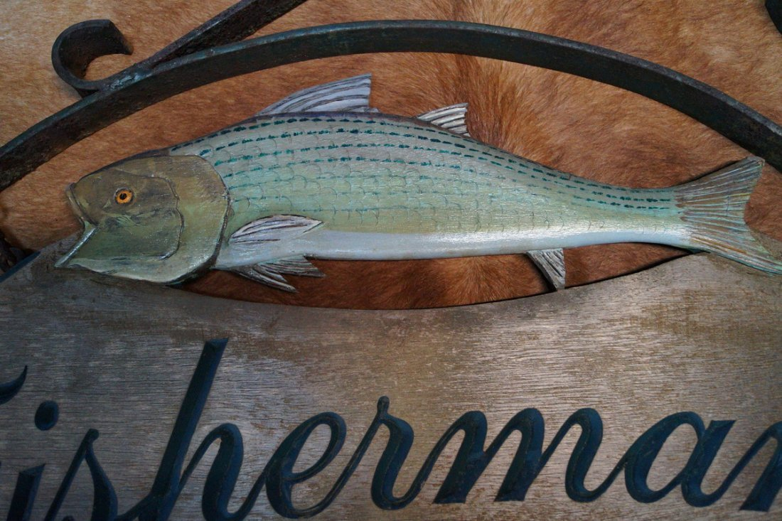 FISHERMAN'S DELIGHT WOOD HANGING SIGN - 2