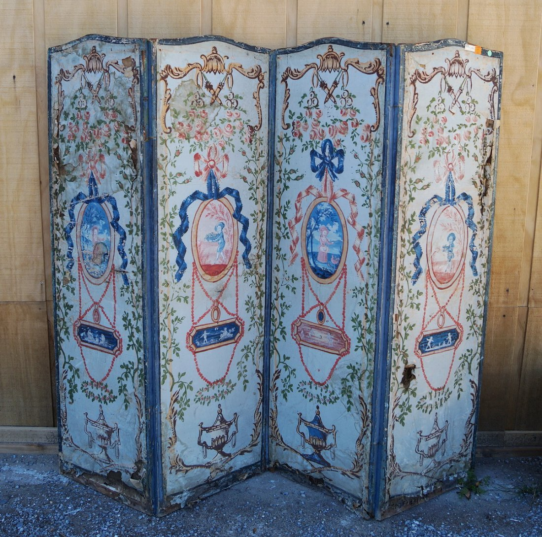 ANTIQUE PAINT DECORATED 4 PANEL SCREEN (AS IS)