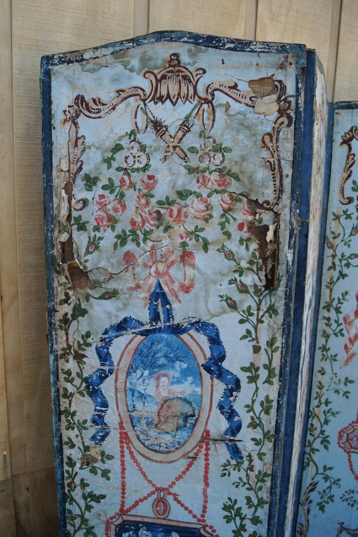 ANTIQUE PAINT DECORATED 4 PANEL SCREEN (AS IS) - 2