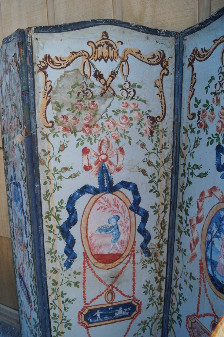 ANTIQUE PAINT DECORATED 4 PANEL SCREEN (AS IS) - 3