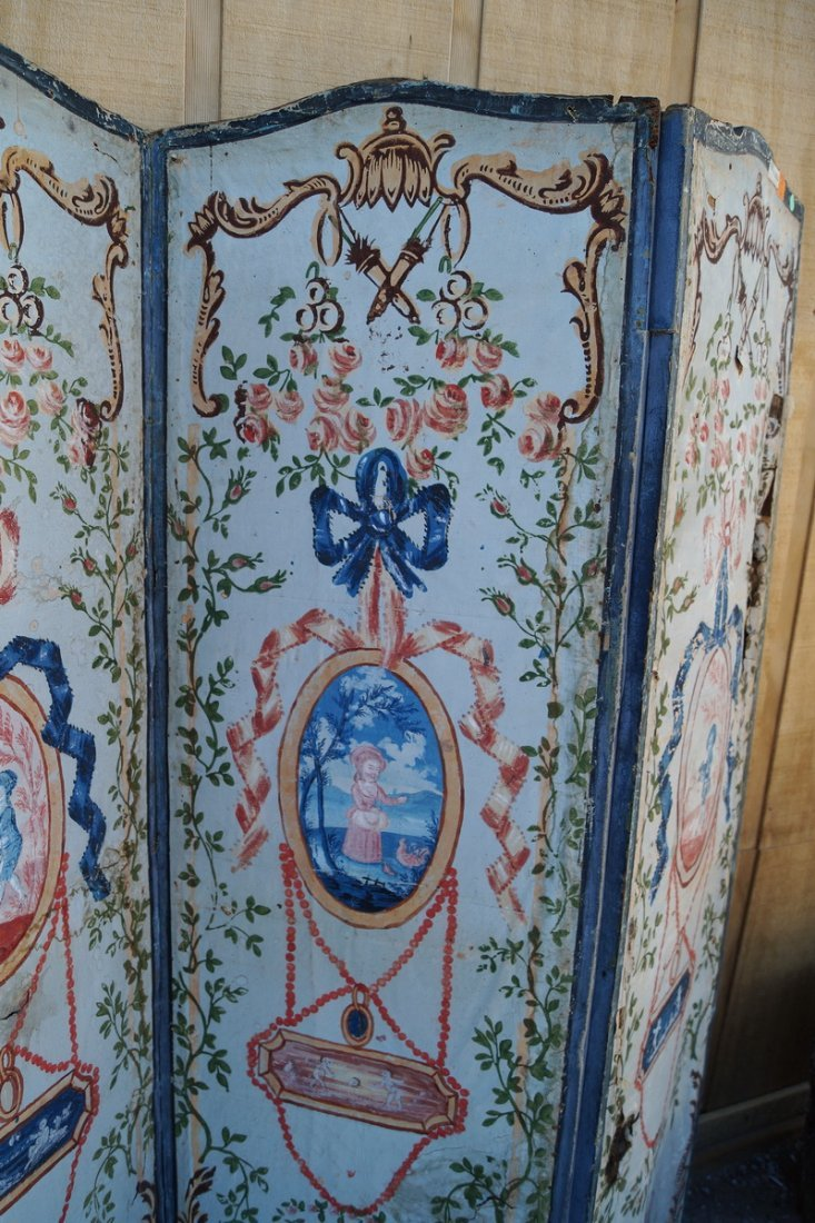 ANTIQUE PAINT DECORATED 4 PANEL SCREEN (AS IS) - 4