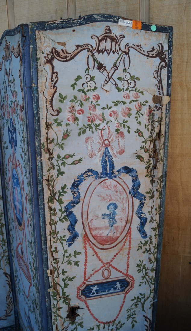ANTIQUE PAINT DECORATED 4 PANEL SCREEN (AS IS) - 5