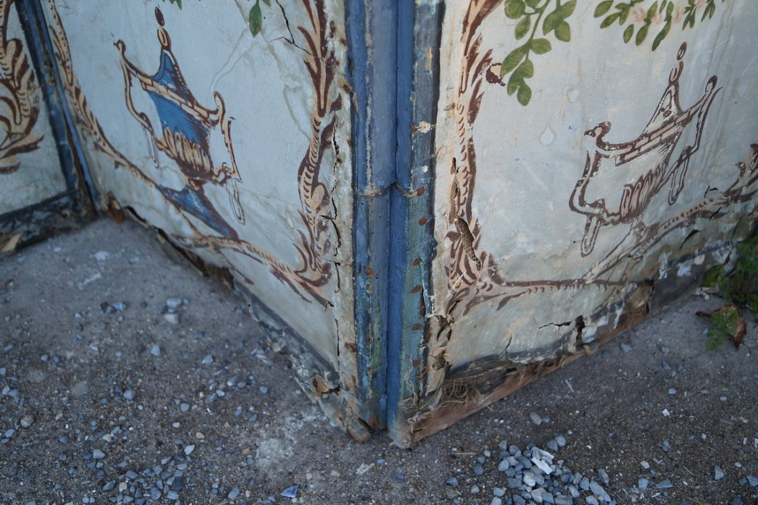 ANTIQUE PAINT DECORATED 4 PANEL SCREEN (AS IS) - 6