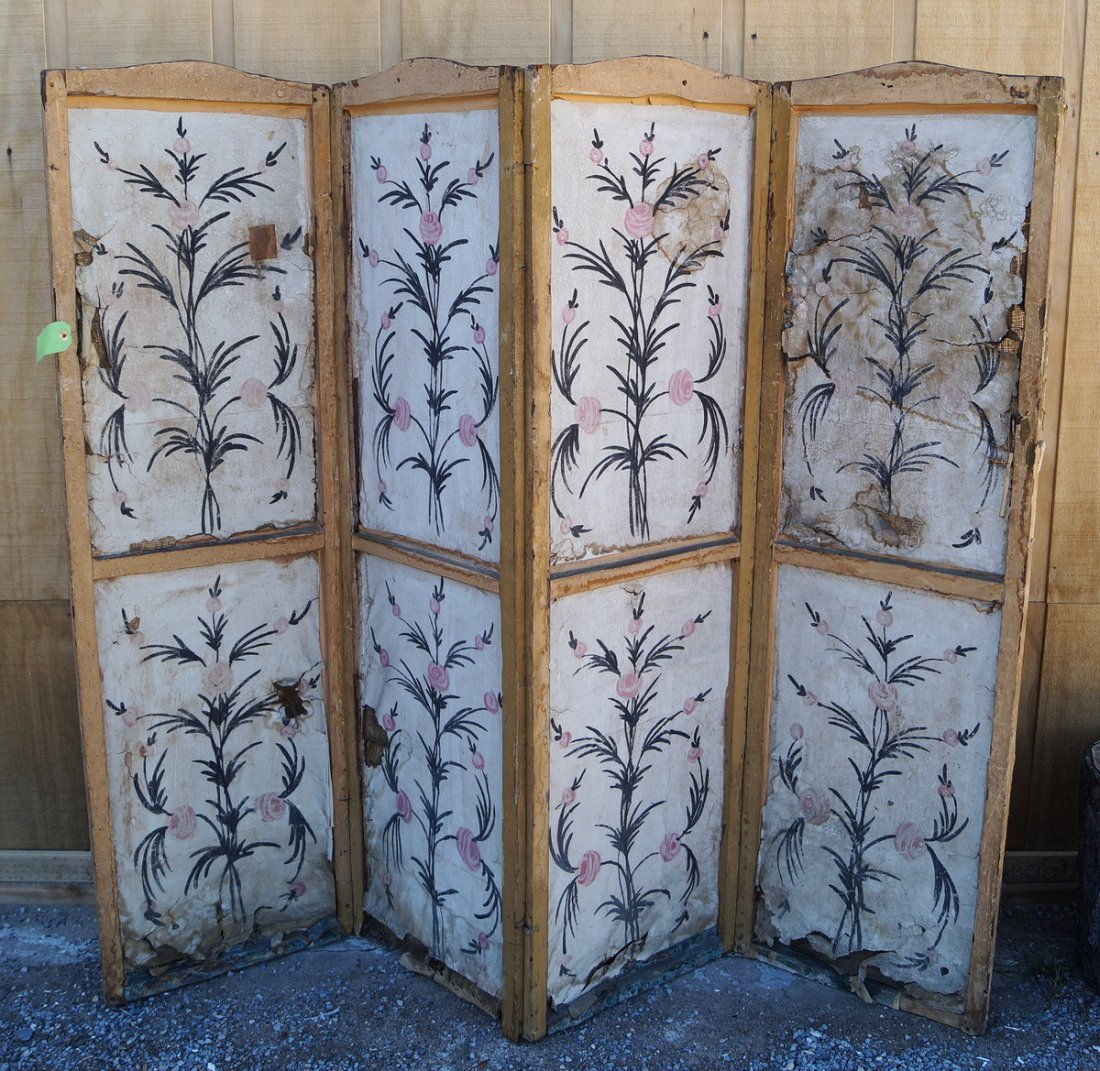 ANTIQUE PAINT DECORATED 4 PANEL SCREEN (AS IS) - 8