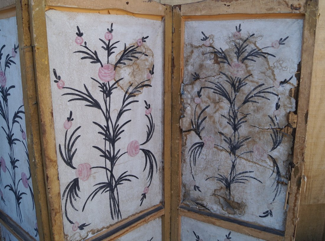 ANTIQUE PAINT DECORATED 4 PANEL SCREEN (AS IS) - 9