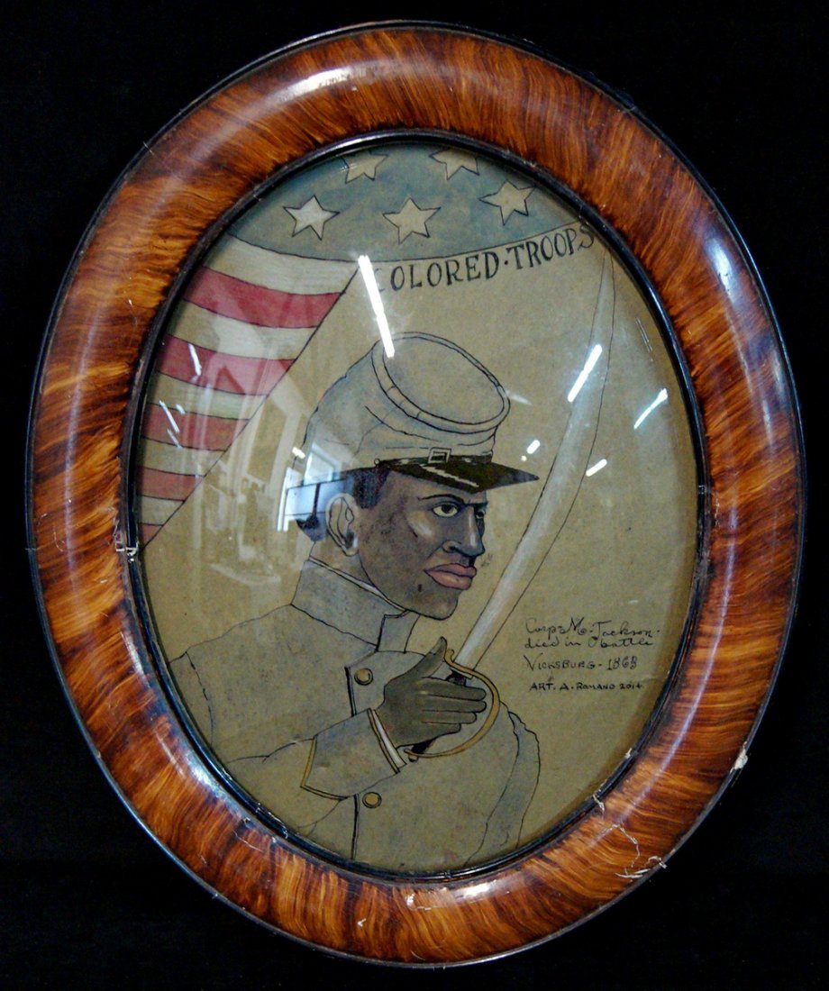 """FRAMED OVAL 20th C. """"COLORED TROOPS COMMEMORATION"""" SGN."""