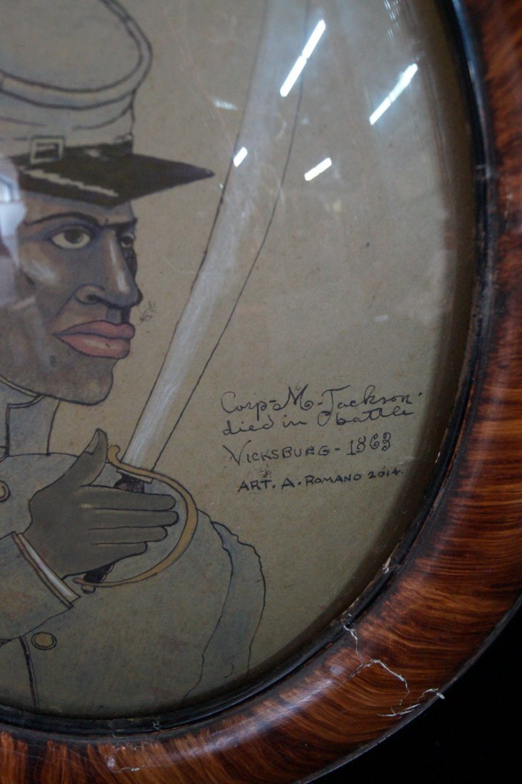 """FRAMED OVAL 20th C. """"COLORED TROOPS COMMEMORATION"""" SGN. - 2"""