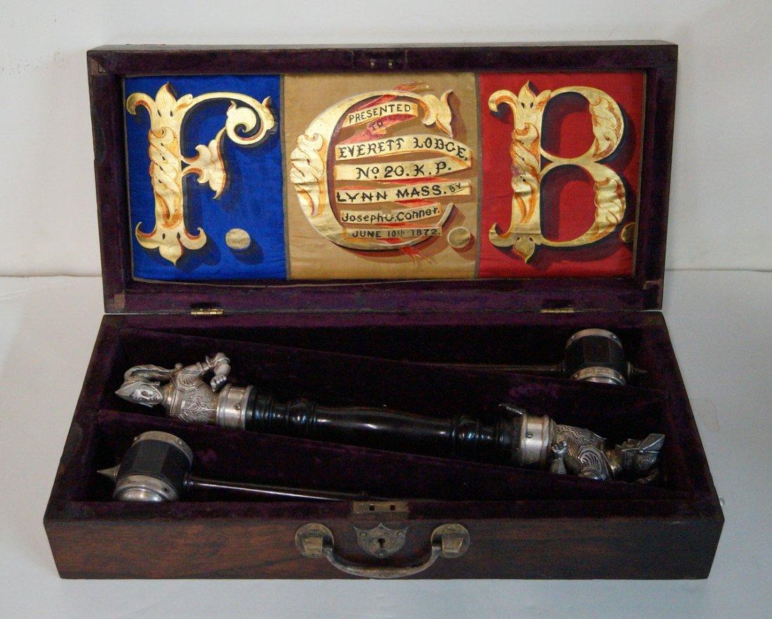 EVERETT LODGE LYNN MASS GAVEL SET 1872,  IN ROSEWOOD