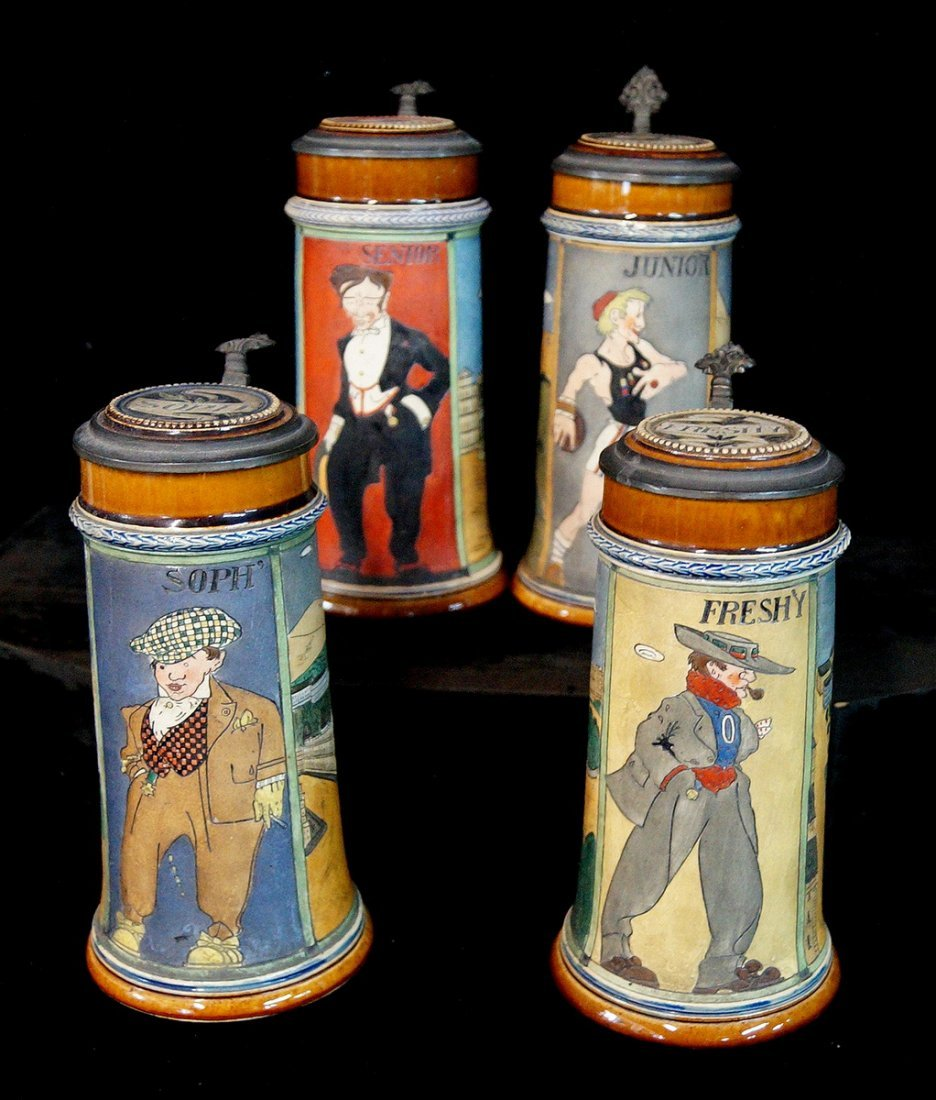 GROUP OF 4 FIGURAL STEINS, UNIVERSITY THEME