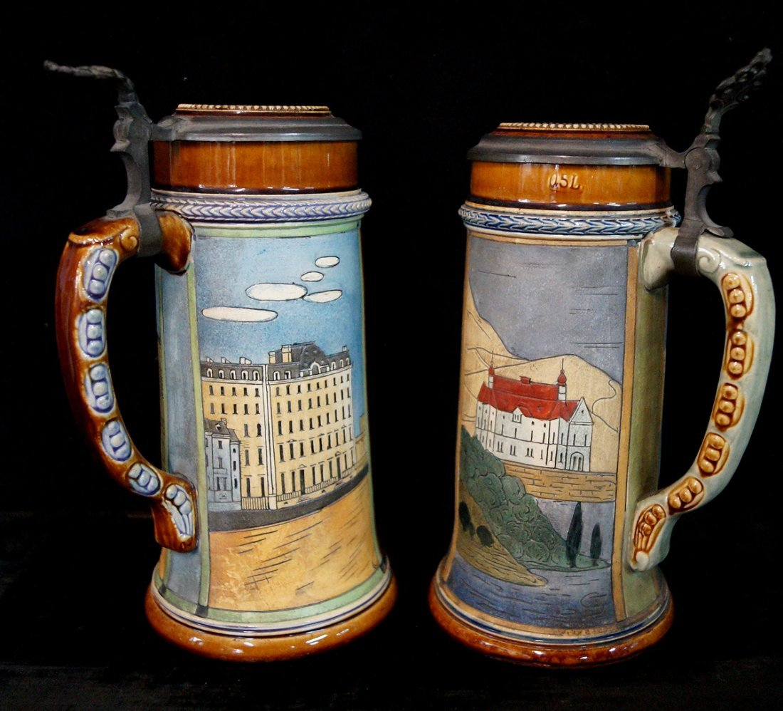 GROUP OF 4 FIGURAL STEINS, UNIVERSITY THEME - 5