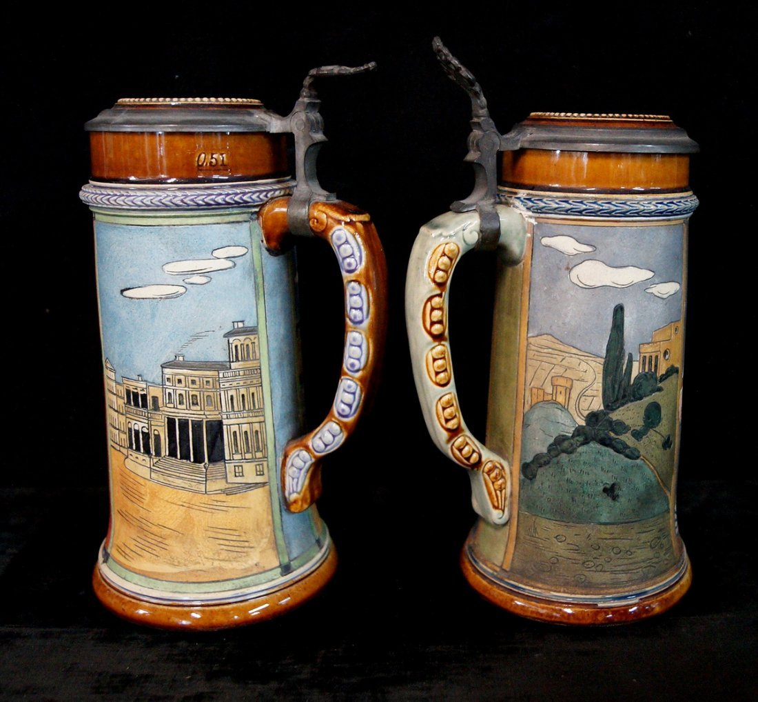 GROUP OF 4 FIGURAL STEINS, UNIVERSITY THEME - 6