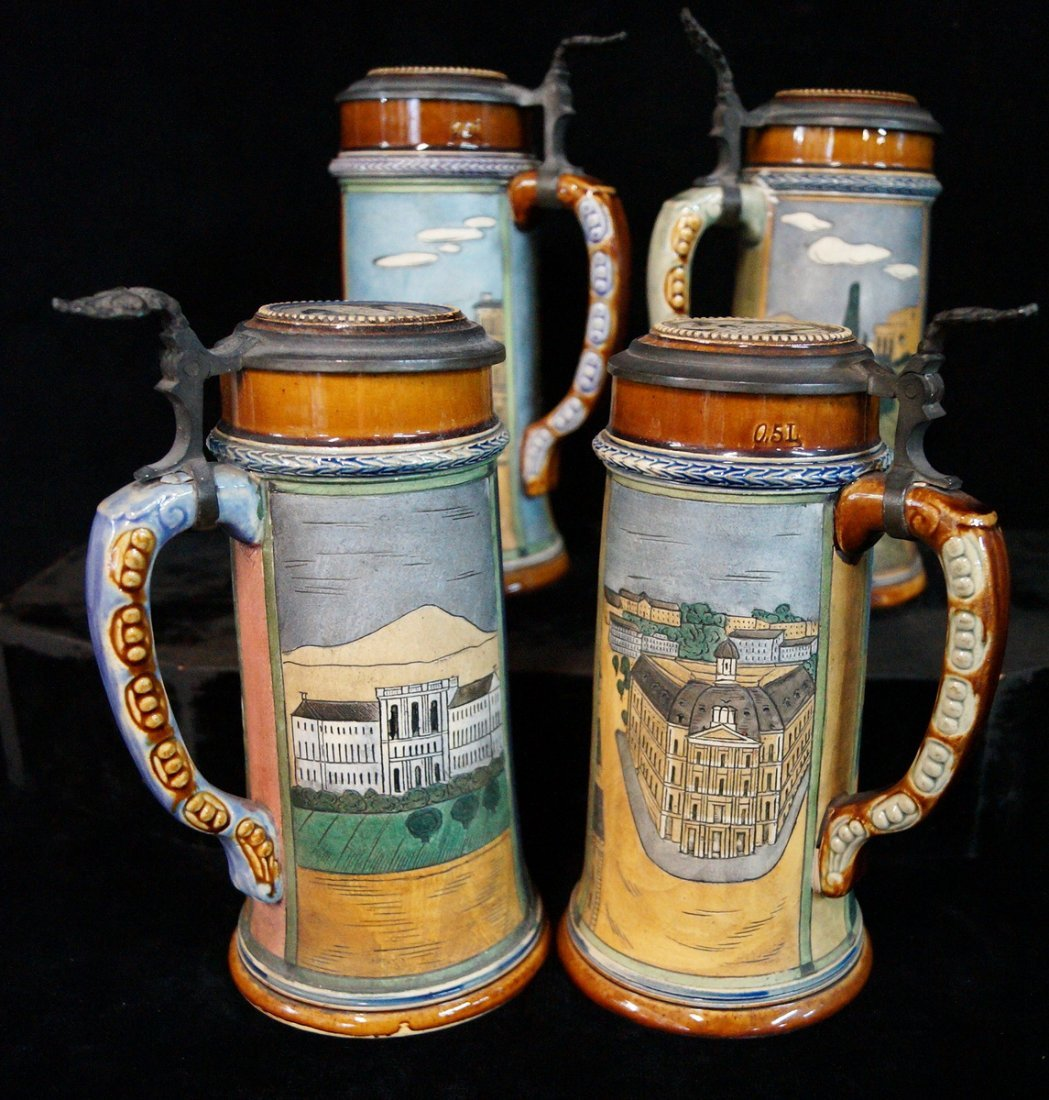 GROUP OF 4 FIGURAL STEINS, UNIVERSITY THEME - 7