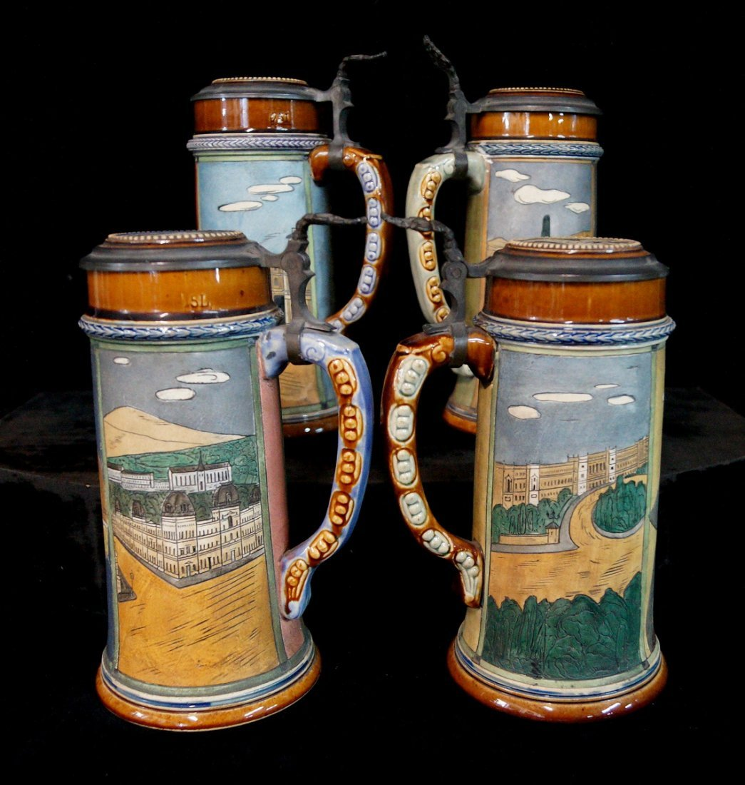GROUP OF 4 FIGURAL STEINS, UNIVERSITY THEME - 8