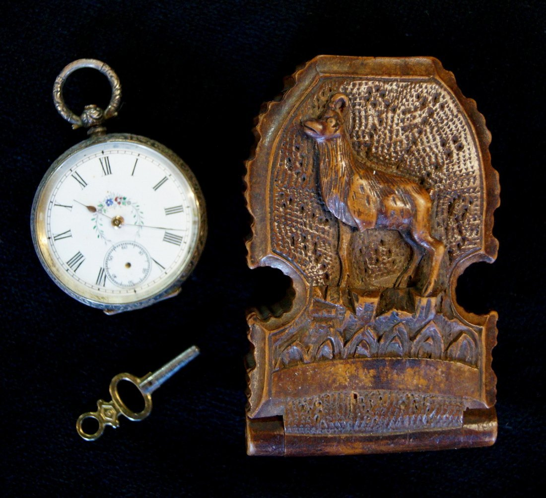 LADIES OPEN FACE POCKET WATCH WITH BLACK FOREST CASE