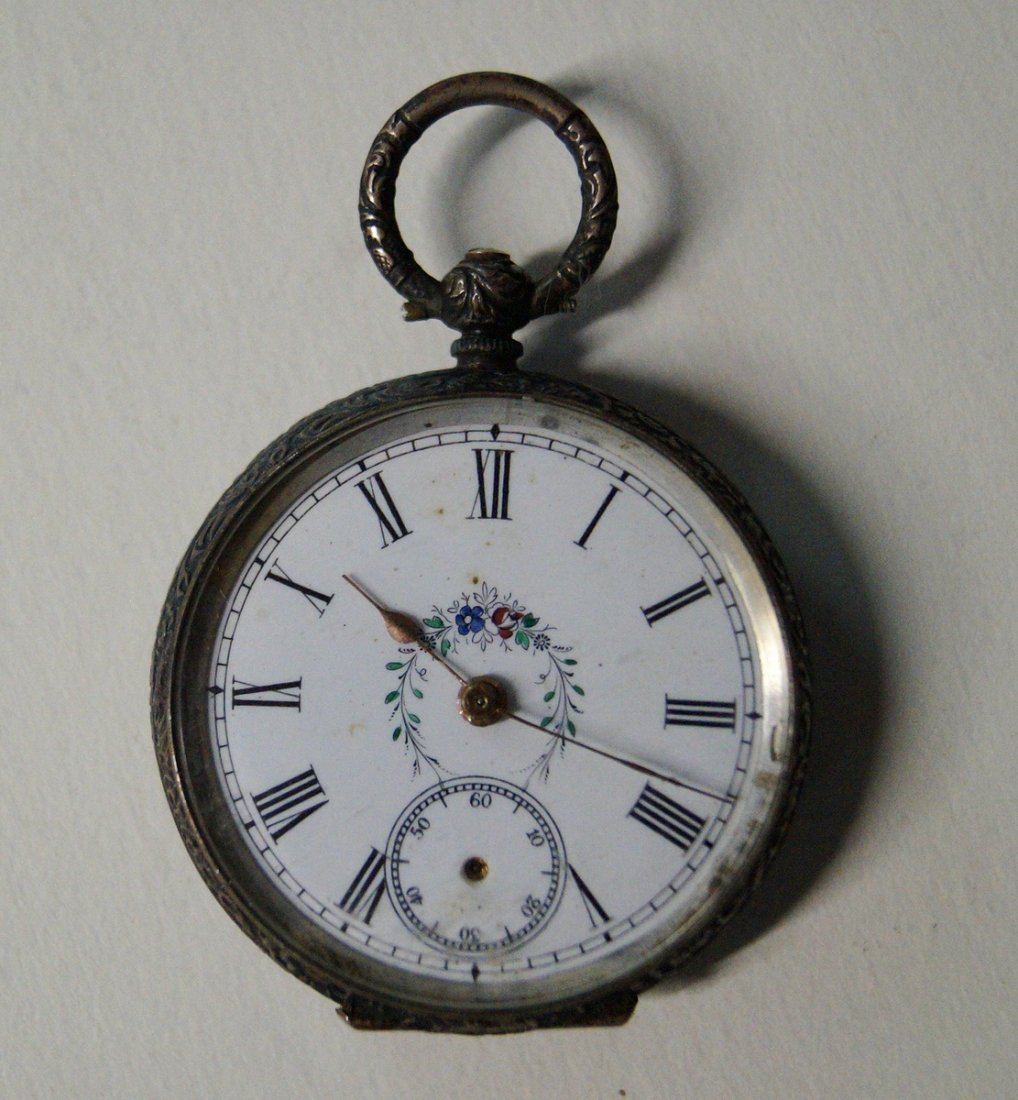 LADIES OPEN FACE POCKET WATCH WITH BLACK FOREST CASE - 4