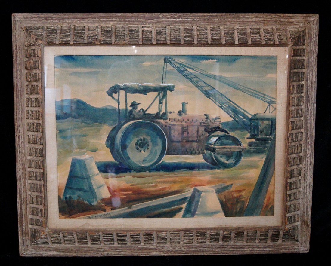 """FRAMED WATERCOLOR """"TRACTOR"""" SGN. PAUL MELTSNER"""
