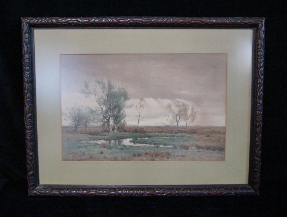 """FRAMED WATERCOLOR """"STORMY LANDSCAPE"""" SGN. H FARRER 1897"""