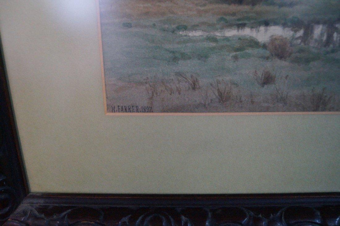 """FRAMED WATERCOLOR """"STORMY LANDSCAPE"""" SGN. H FARRER 1897 - 2"""