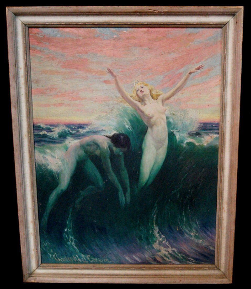 """FRAMED O/B """"WOMEN SWIMMING"""" SGN. CHARLES ABLE CORWIN"""