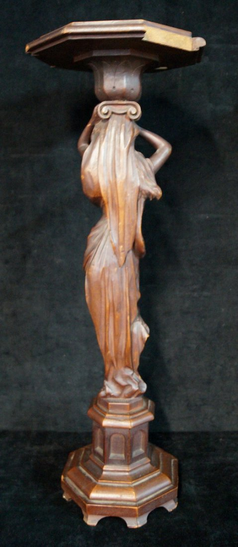 CARVED WOOD FIGURAL PLANT STAND - 3