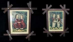2 FOLK ART FRAMED CURRIER & IVES PRINTS