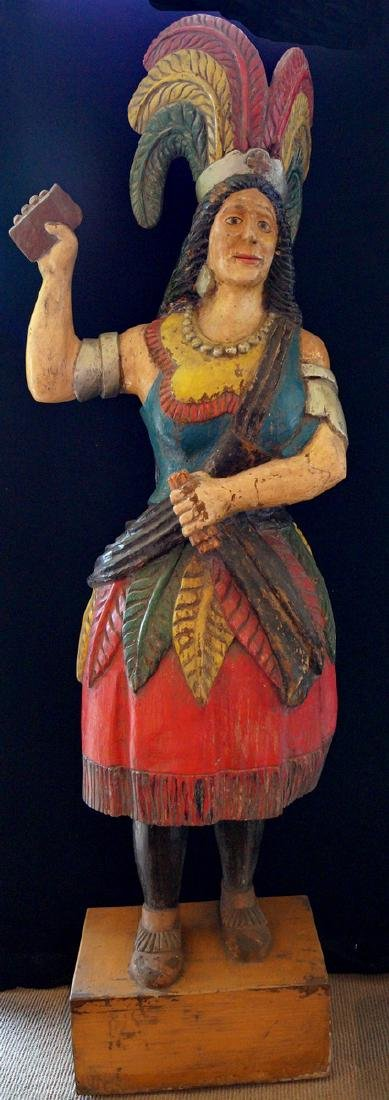 EARLY 20TH C. CARVED & POLYCHROMED CIGAR STORE INDIAN