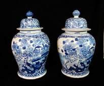 PR ORIENTAL BLUE  WHITE TEMPLE JARS
