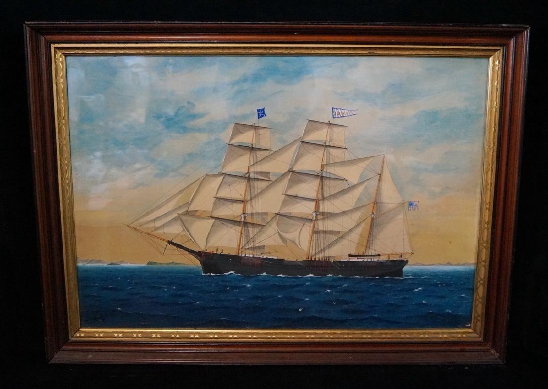 "GOUACHE FRAMED CLIPPER SHIP ""JENNY PITTS"" NOT SIGNED"