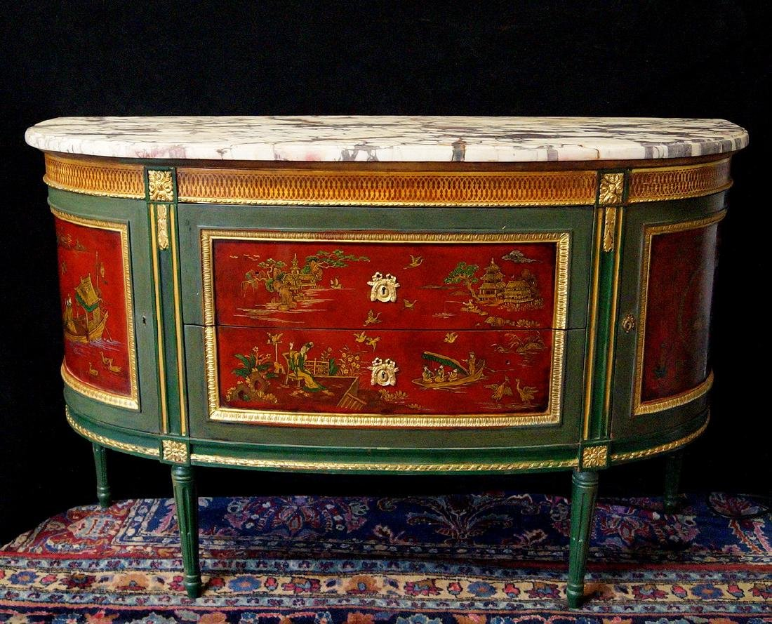 19TH C.CHINOISERIE DECORATED DEMI LUNE SERVER
